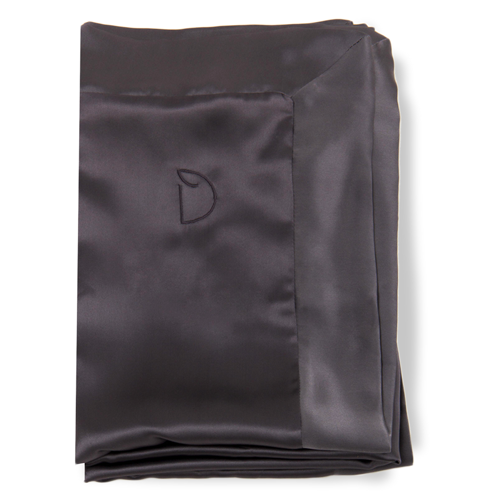 SET OF DAME ESSENTIALS CHARCOAL GREY PILLOWCASE AND NOIR BLACK EYE MASK