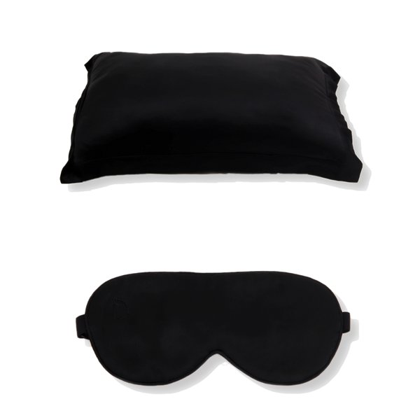 SET OF DAME ESSENTIAL NOIR BLACK PILLOWCASE AND EYE MASK
