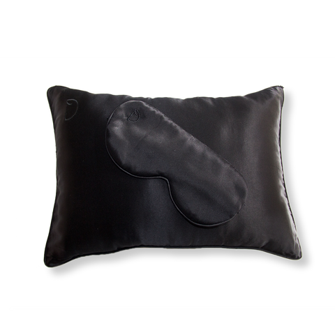 NOIR BLACK TRAVEL PILLOWCASE AND SLEEPING MASK