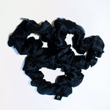 Noir Black Pure Silk Scrunchies