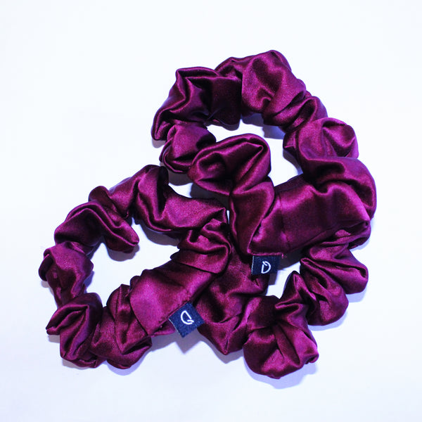 Berry Burgundy Pure Silk Scrunchies
