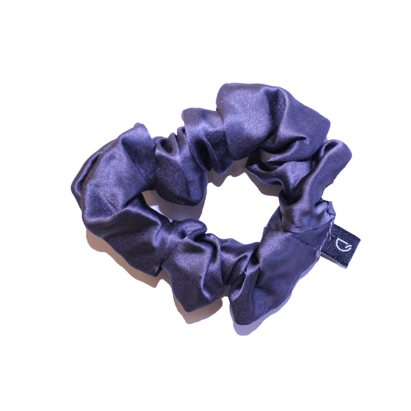 Charcoal Grey Pure Silk Scrunchies