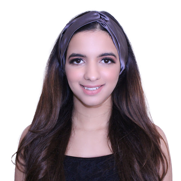 Charcoal Grey Silk Hairband