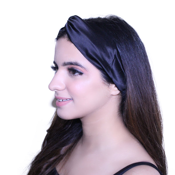 Noir Black Silk Hairband