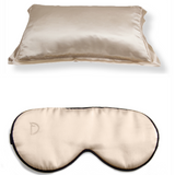 SET OF DAME ESSENTIALS CHAMPAGNE GOLD PILLOWCASE AND EYE MASK