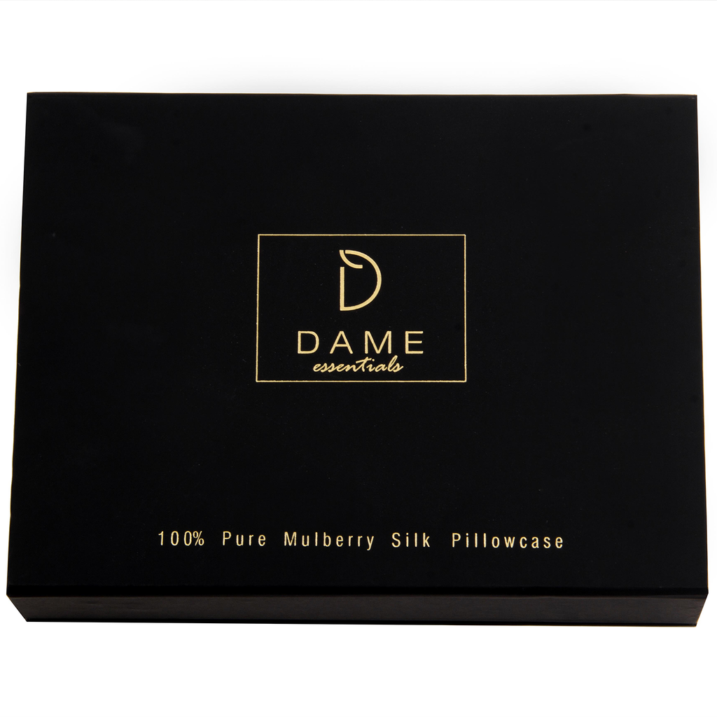 SET OF DAME ESSENTIALS PRISTINE WHITE PILLOWCASE AND NOIR BLACK EYE MASK