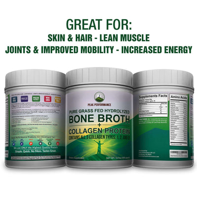 Supplement Powder - Hydrolyzed Grass-Fed Bone Broth + Collagen Protein Peptides Powder (Test)