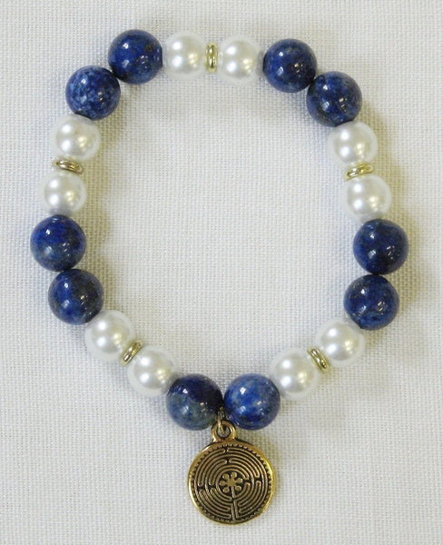 Jewelry, bracelets_ Blue/white gemstone