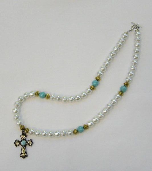 Jewelry, necklace_Turquoise and pearl w/ gold toned cross