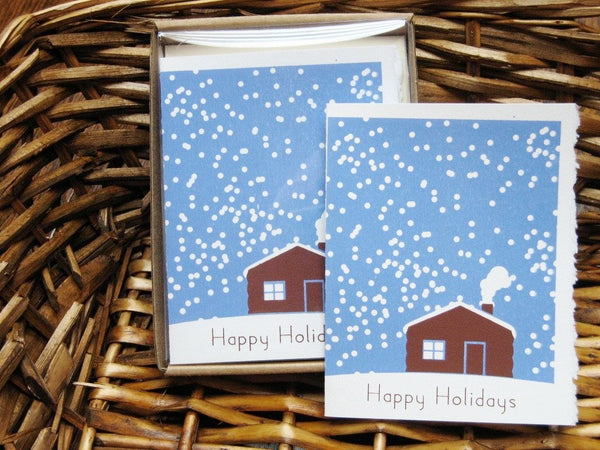 Cabin Snow Scene Christmas cards (by Charlee Weeks)_5 cards per pack