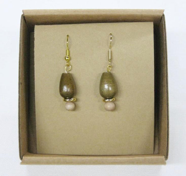 Earrings,Drop-Bead Wood