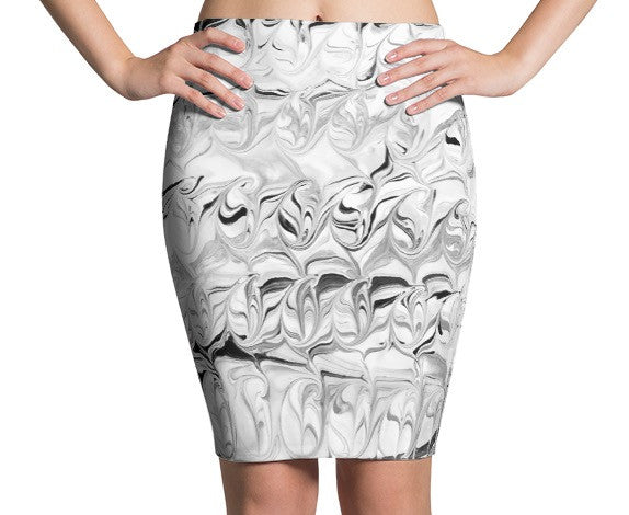 "MCC Paint Florence Pencil Skirt in ""Black Water"""