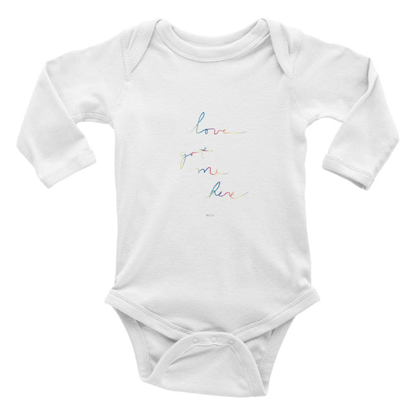 "MCC ""love got me here"" in rainbow Infant long sleeve one-piece"