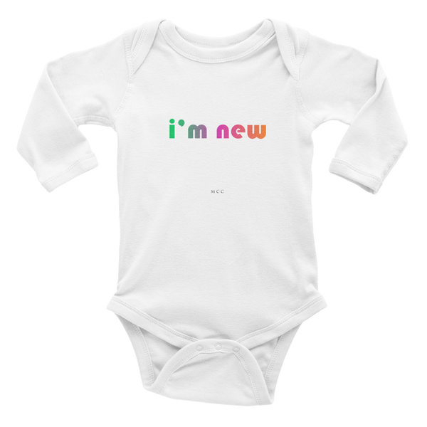 "MCC ""i'm new"" Infant long sleeve one-piece"