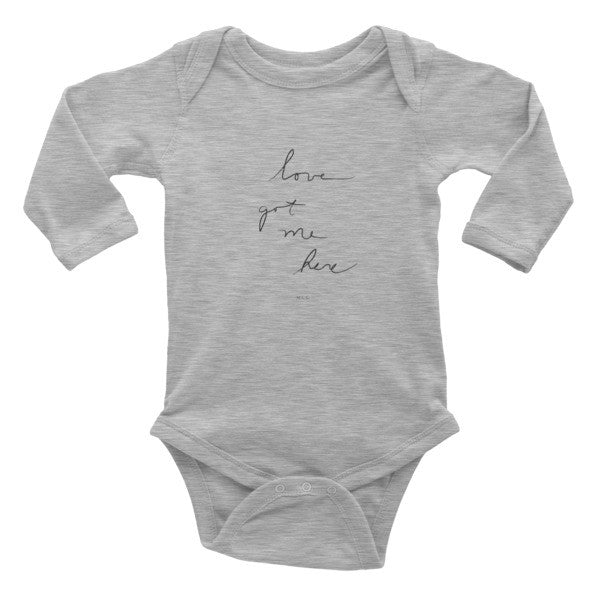 "MCC ""love got me here"" Infant long sleeve one-piece"