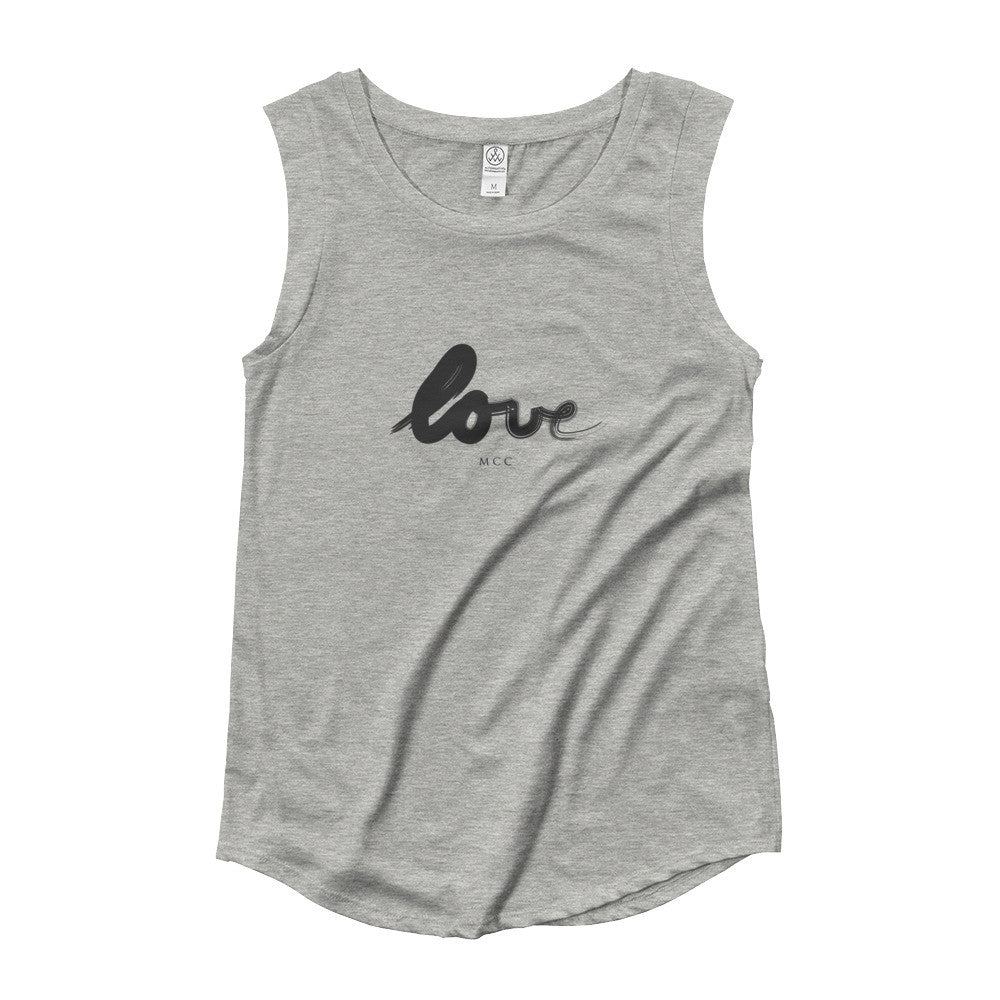 "MCC Paint ""love"" Cap Sleeve Tank"