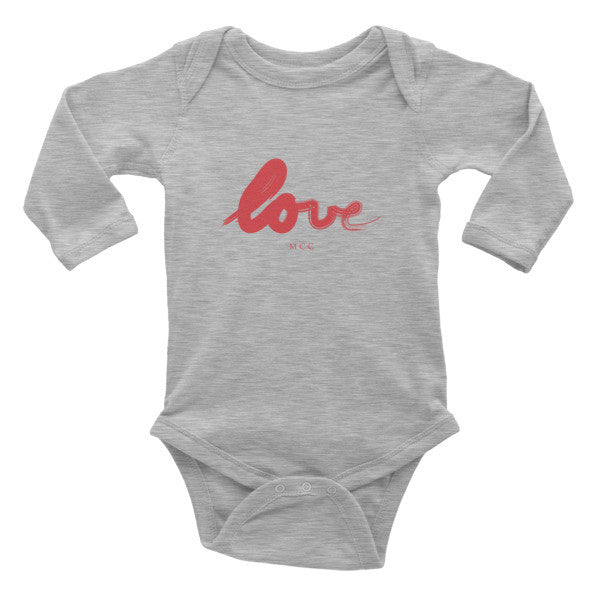 "MCC ""love"" paintbrush Infant long sleeve one-piece"