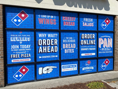 Window Graphics with Blue Brick Background