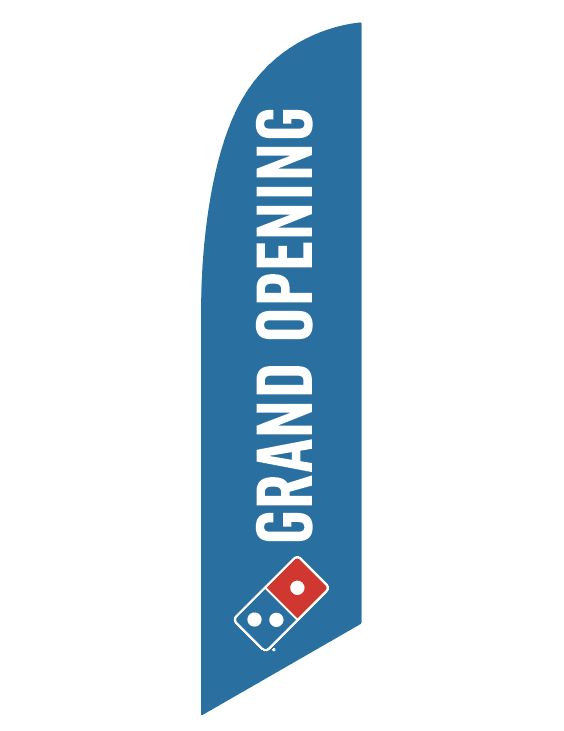 "One-Sided Blue Feather Angled ""Grand Opening"" Flag"