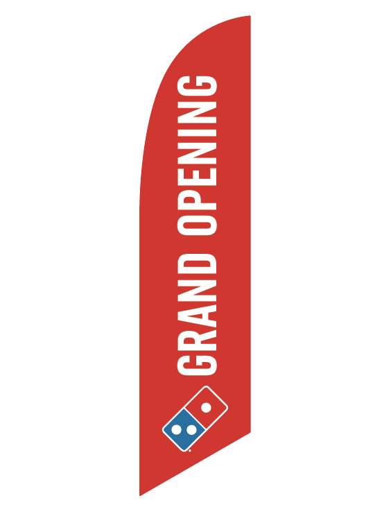 "One-Sided Red Feather Angled ""Grand Opening"" Flag"