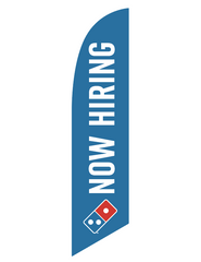 "One-Sided Blue Feather Angled ""Now Hiring"" Flag"