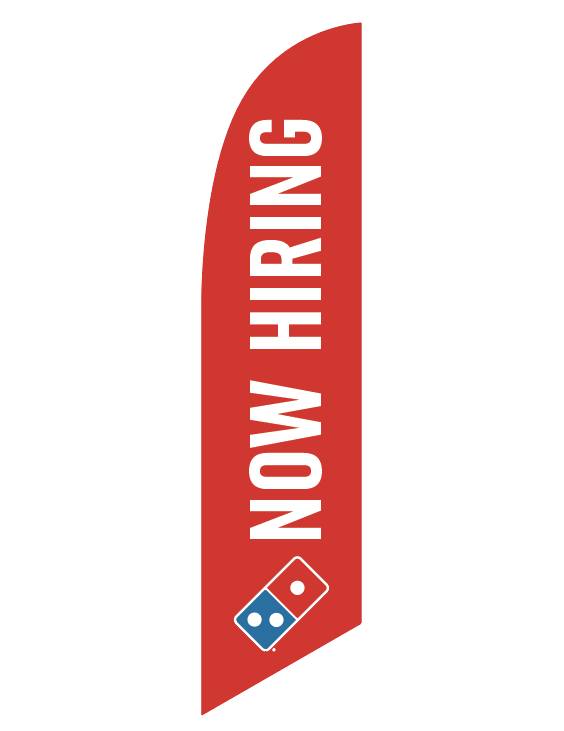 "One-Sided Red Feather Angled ""Now Hiring"" Flag"
