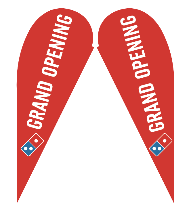 "Two-Sided Teardrop ""Grand Opening"" Flag"