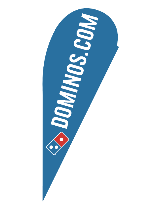 "One-Sided Blue Teardrop ""Dominos.com"" Flag"