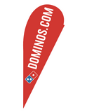 "One-Sided Red Teardrop ""Dominos.com"" Flag"