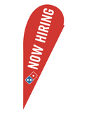 "One-Sided Red Teardrop ""Now Hiring"" Flag"