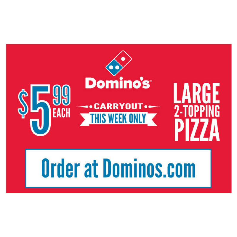 """$5.99 Large 2-Topping Pizza"" Banner"