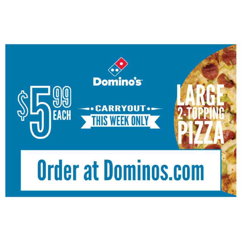 """$5.99 Large 2-Topping Pizza"" Pepperoni Banner"