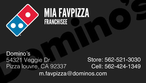 "Black ""Domino's"" Custom Business Cards"