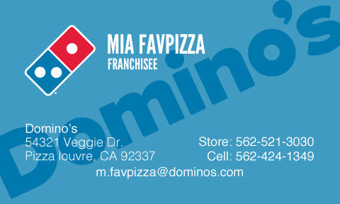 "Blue ""Domino's"" Custom Business Cards"