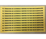 """Transactions Are Electronically Monitored"" Decals"