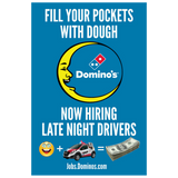 """Fill Your Pockets With Dough"" Window Cling"
