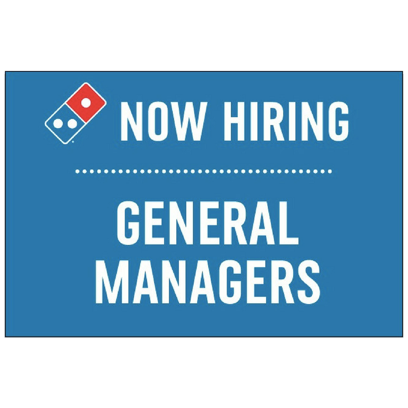 """Now Hiring General Managers"" Horizontal Window Cling"