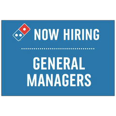 """Now Hiring GM's"" Horizontal Window Cling"