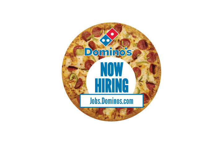 "8x8 Round ""Now Hiring"" Pizza Counter Mat 4-Pack"