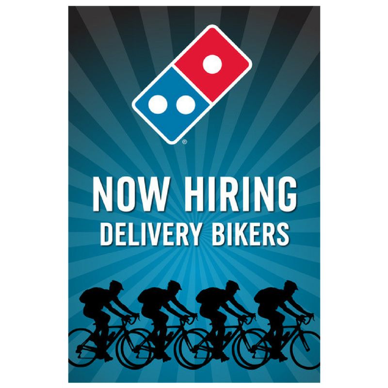 """Now Hiring Delivery Bikers"" Window Cling"