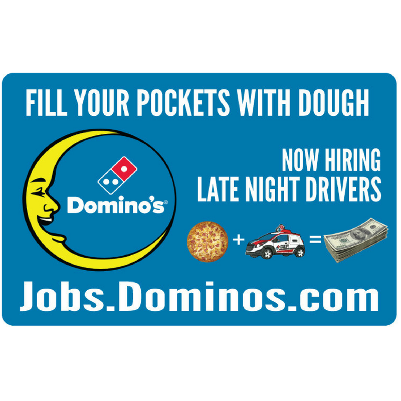 "11x17 ""Now Hiring Late Night Drivers"" Counter Mat 4-Pack"