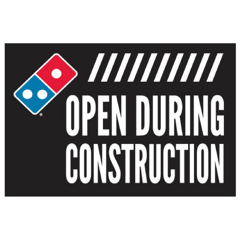 """Open During Construction"" Stacks Window Cling"