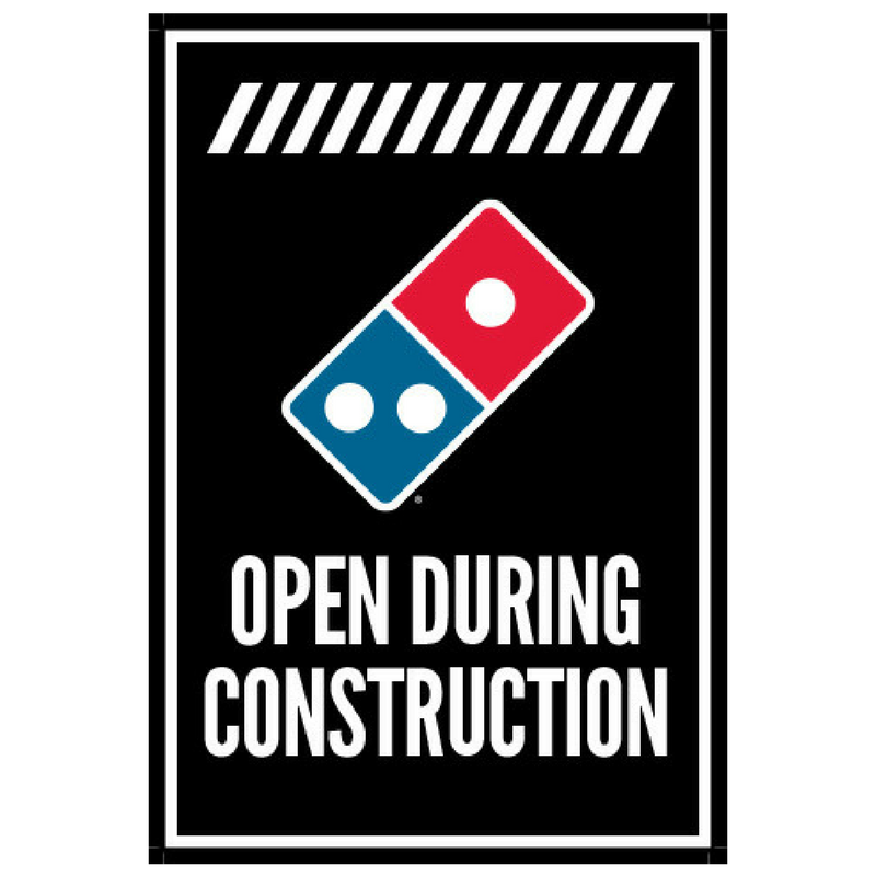 """Open During Construction"" Vertical Window Cling"