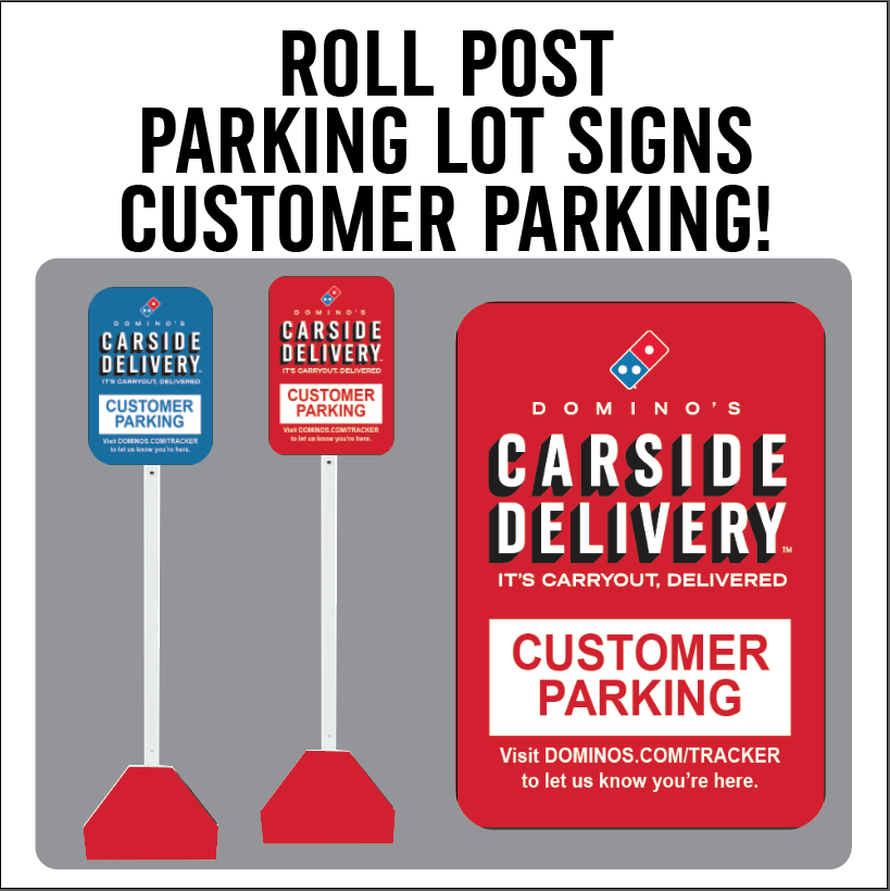 "Carside Delivery - Roll Post Signs - Customer Parking - 12"" x 18"" with Red Base"