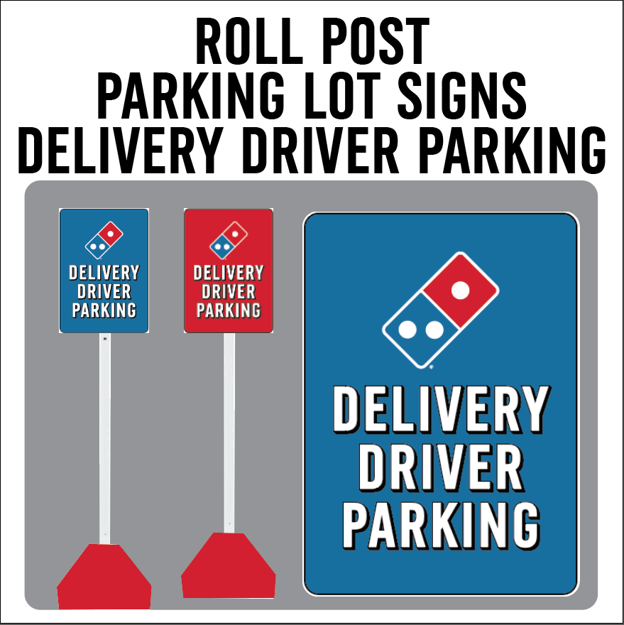 "Carside Delivery - Roll Post Signs - Delivery Driver Parking - 12"" x 18"" - With Red Base"