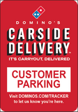 "Carside Delivery - Roll Post Signs - Customer Parking - 12"" x 18"" with Blue Base"