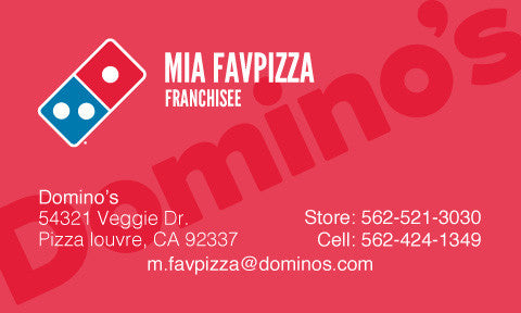 "Red ""Domino's"" Custom Business Cards"