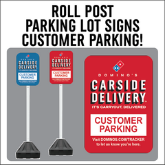 "Carside Delivery - Roll Post Signs - Customer Parking - 12"" x 18"" with Black Base"