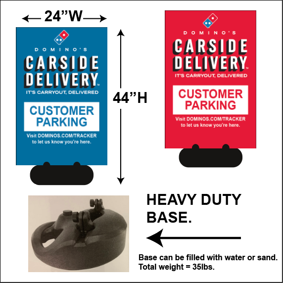 """CARSIDE DELIVERY - CUSTOMER PARKING"" SIDEWALK SIGN"
