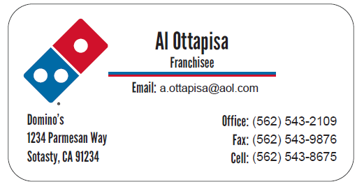 Domino's Tile Back Business Card